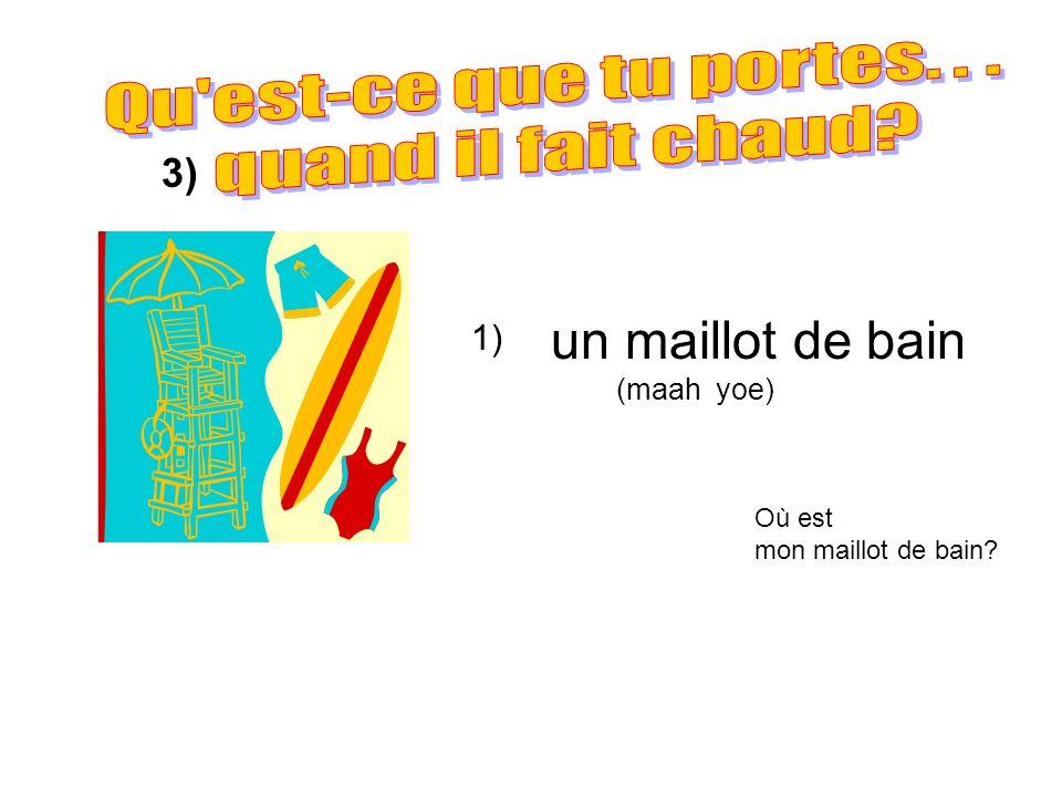 2) 3) un T-shirt (shurrr t) un short (sh ɔ rrr t) une casquette (kaaah sket) 4) Où est mon T-shirt.