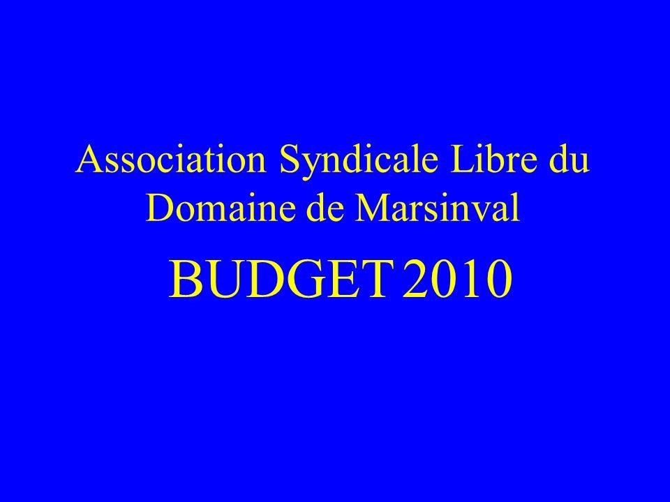 Association Syndicale Libre du Domaine de Marsinval BUDGET 2010