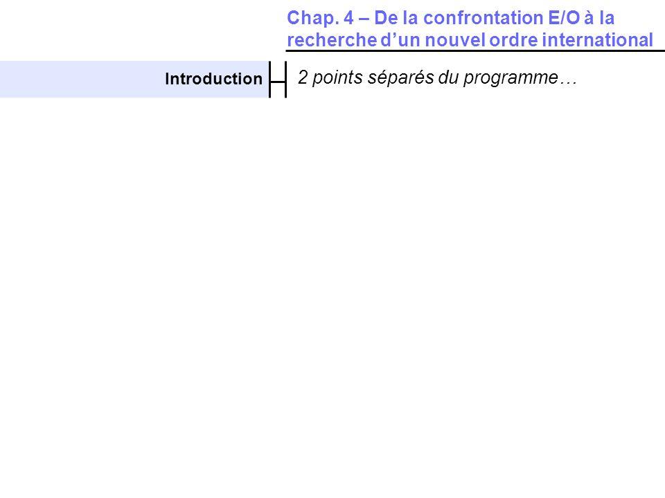 Introduction 2 points séparés du programme… Chap. 4 – De la confrontation E/O à la recherche dun nouvel ordre international