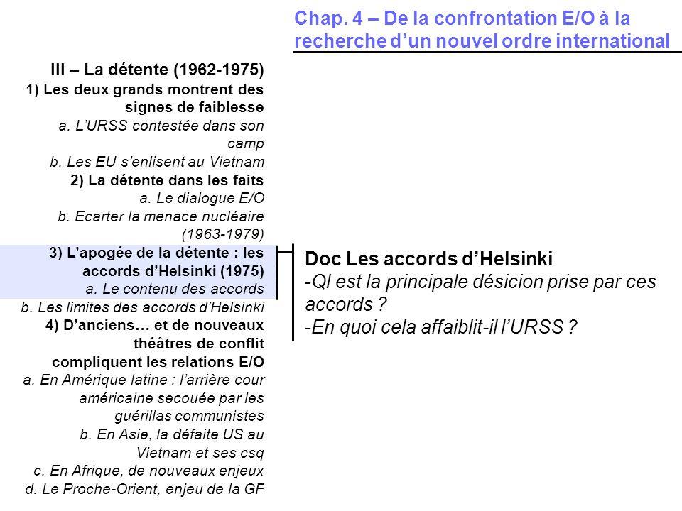 III – La détente (1962-1975) 1) Les deux grands montrent des signes de faiblesse a. LURSS contestée dans son camp b. Les EU senlisent au Vietnam 2) La