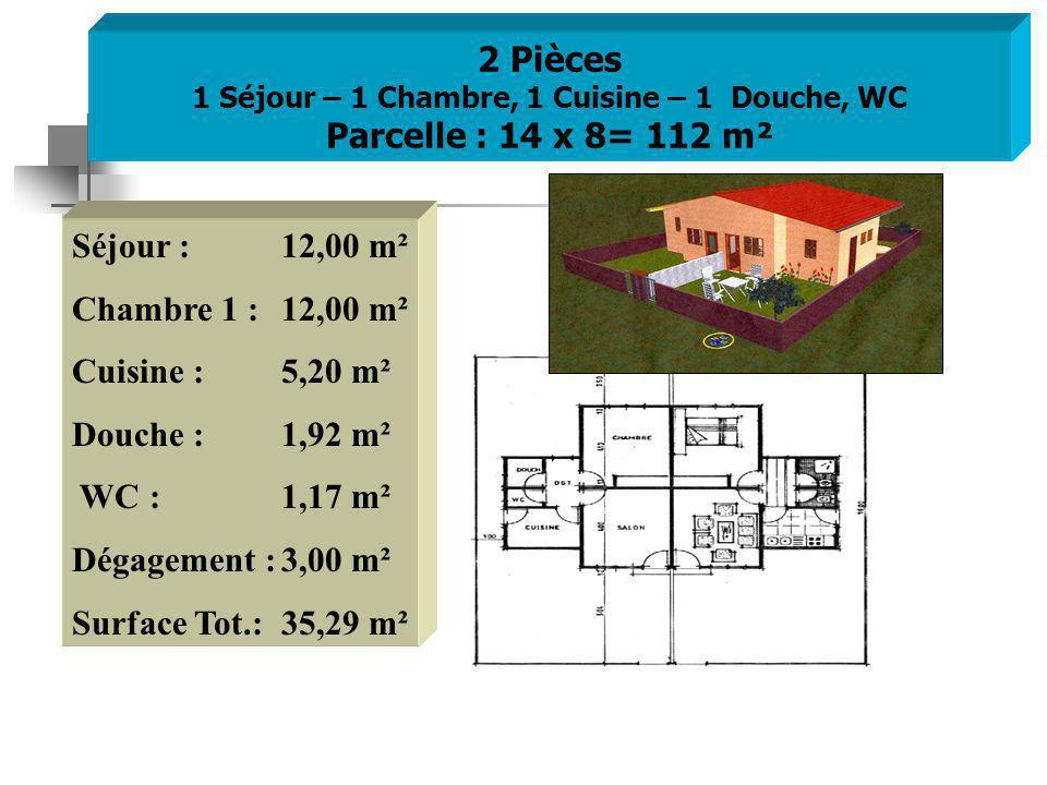 2 Pièces 1 Séjour – 1 Chambre, 1 Cuisine – 1 Douche, WC Parcelle : 14 x 8= 112 m² Séjour : 12,00 m² Chambre 1 : 12,00 m² Cuisine : 5,20 m² Douche :1,92 m² WC :1,17 m² Dégagement :3,00 m² Surface Tot.:35,29 m²