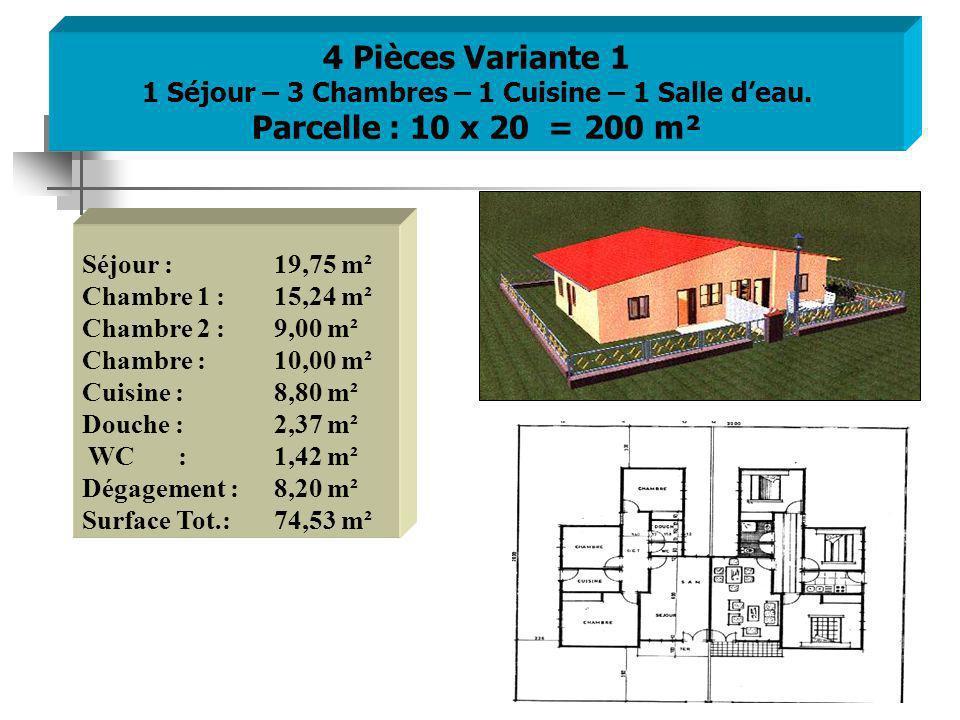 4 Pièces Variante 1 1 Séjour – 3 Chambres – 1 Cuisine – 1 Salle deau.