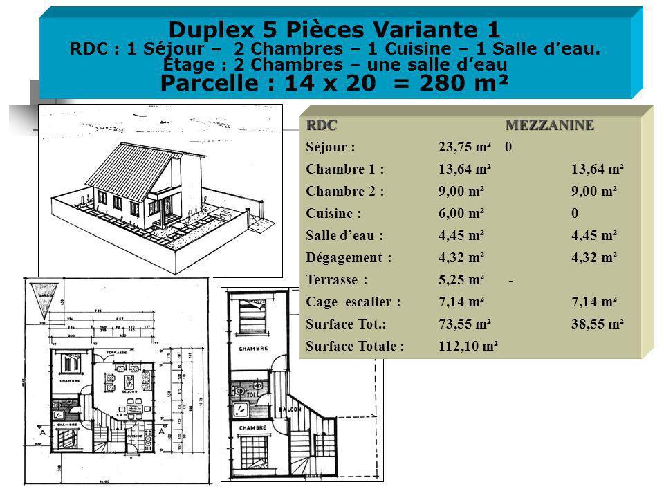 Duplex 5 Pièces Variante 1 RDC : 1 Séjour – 2 Chambres – 1 Cuisine – 1 Salle deau.