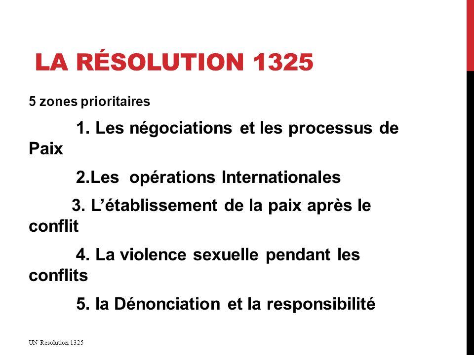 LA RÉSOLUTION 1325 5 zones prioritaires 1.