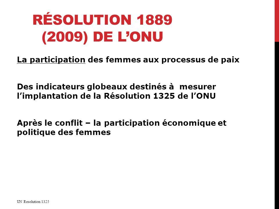 RÉSOLUTION 1889 (2009) DE LONU La participation des femmes aux processus de paix Des indicateurs globeaux destinés à mesurer limplantation de la Résolution 1325 de lONU Après le conflit – la participation économique et politique des femmes UN Resolution 1325