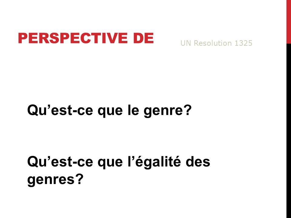 PERSPECTIVE DE Quest-ce que le genre Quest-ce que légalité des genres UN Resolution 1325