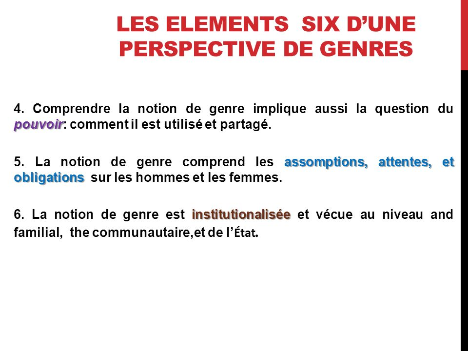 LES ELEMENTS SIX DUNE PERSPECTIVE DE GENRES pouvoir 4.