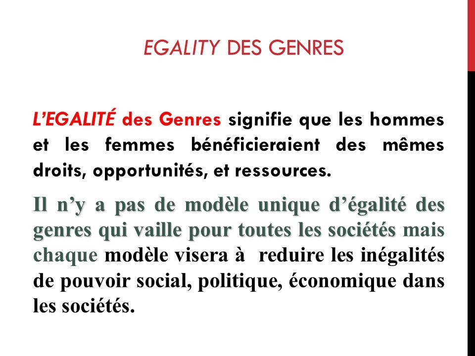 EGALITY DES GENRES LEGALIT É des Genres signifie que les hommes et les femmes bénéficieraient des mêmes droits, opportunités, et ressources.