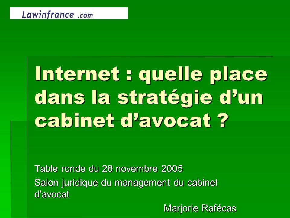 Internet : quelle place dans la stratégie dun cabinet davocat ? Table ronde du 28 novembre 2005 Salon juridique du management du cabinet davocat Marjo