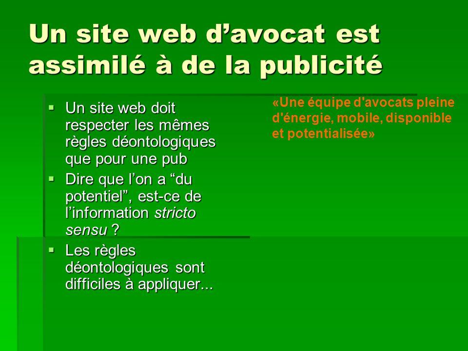 Un site web davocat est assimilé à de la publicité Un site web doit respecter les mêmes règles déontologiques que pour une pub Un site web doit respec
