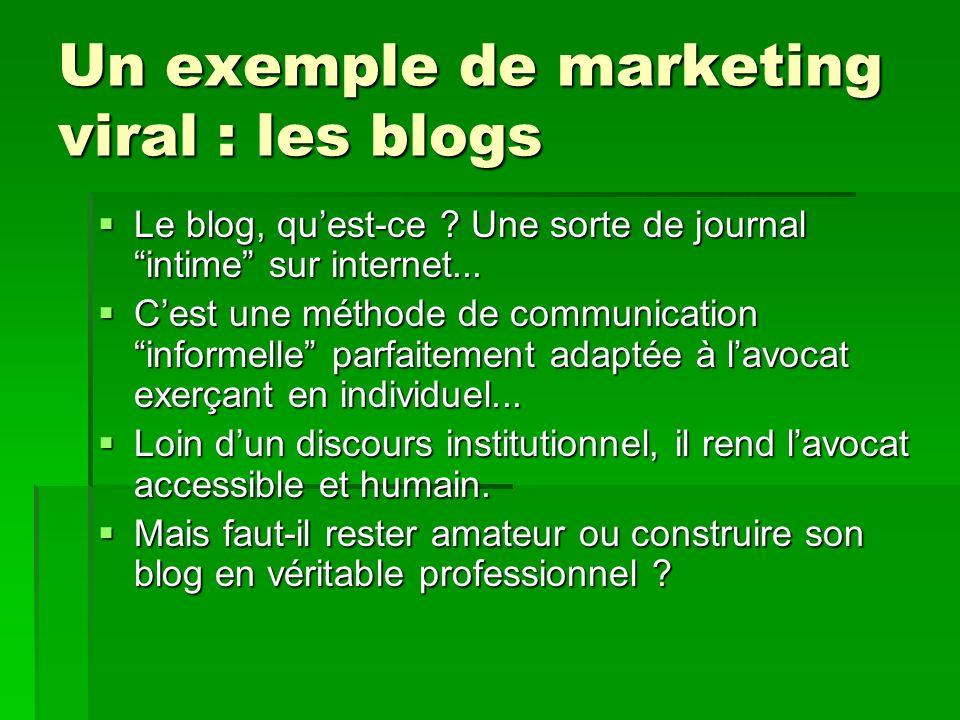 Un exemple de marketing viral : les blogs Le blog, quest-ce ? Une sorte de journal intime sur internet... Le blog, quest-ce ? Une sorte de journal int