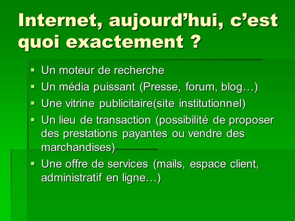 Internet, aujourdhui, cest quoi exactement ? Un moteur de recherche Un moteur de recherche Un média puissant (Presse, forum, blog…) Un média puissant