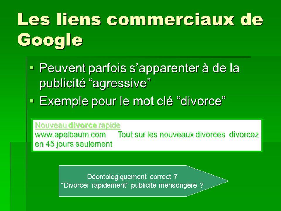 Les liens commerciaux de Google Peuvent parfois sapparenter à de la publicité agressive Peuvent parfois sapparenter à de la publicité agressive Exempl