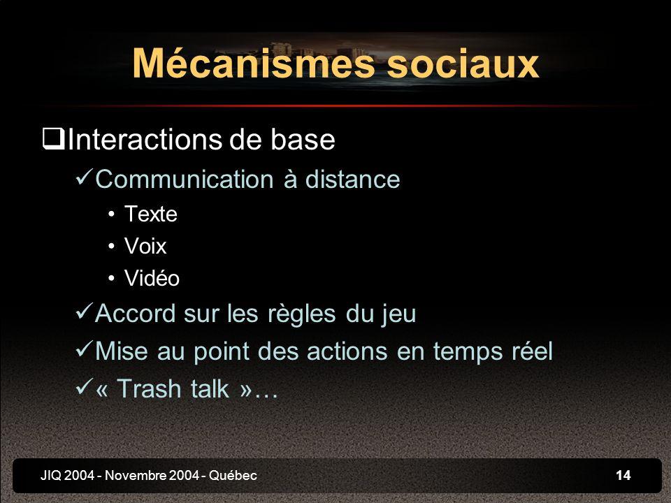 JIQ 2004 - Novembre 2004 - Québec14 Interactions de base Communication à distance Texte Voix Vidéo Accord sur les règles du jeu Mise au point des actions en temps réel « Trash talk »… Mécanismes sociaux