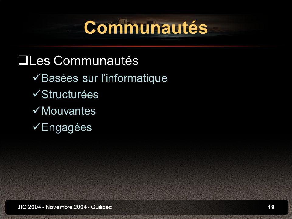 JIQ 2004 - Novembre 2004 - Québec19 Les Communautés Basées sur linformatique Structurées Mouvantes Engagées Communautés