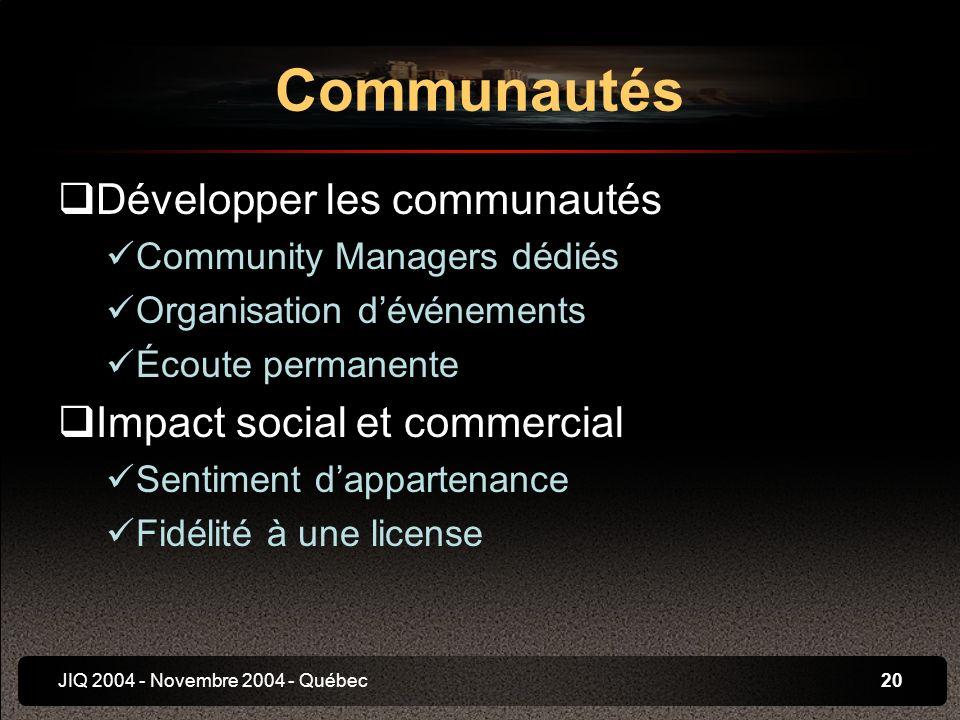 JIQ 2004 - Novembre 2004 - Québec20 Développer les communautés Community Managers dédiés Organisation dévénements Écoute permanente Impact social et commercial Sentiment dappartenance Fidélité à une license Communautés