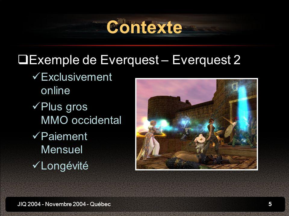 JIQ 2004 - Novembre 2004 - Québec6 Internet et Jeu Vidéo Contexte Online et divertissement Utilisation du web Mécanismes sociaux Communautés
