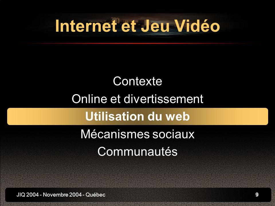 JIQ 2004 - Novembre 2004 - Québec10 Pour les créateurs Support de promotion Media dinformation Feedback des joueurs Support de gestion des communautés Pour les joueurs Informations sur le jeu et les conseils Communication entre joueurs Echange de contenu Utilisation du web