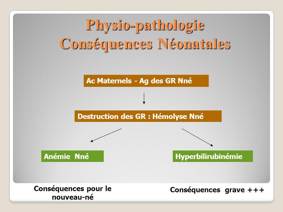 Physio-pathologie Conséquences Néonatales Ac Maternels - Ag des GR Nné Destruction des GR : Hémolyse Nné Anémie NnéHyperbilirubinémie Conséquences gra