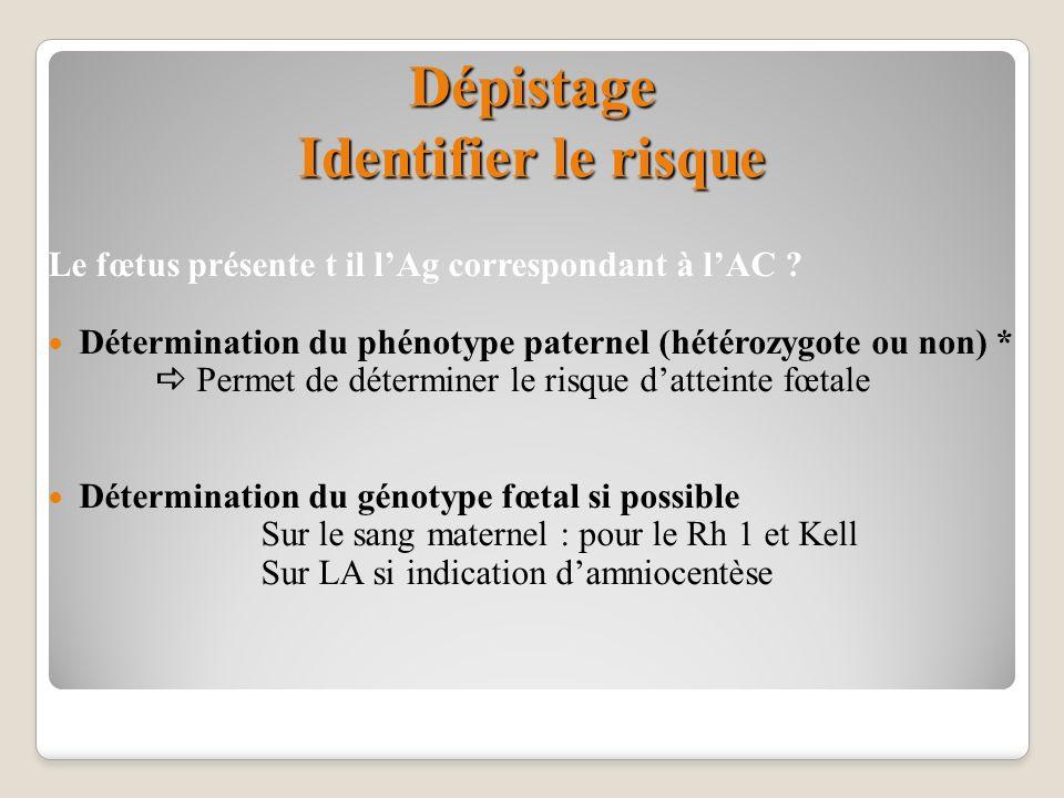 Dépistage Identifier le risque Le fœtus présente t il lAg correspondant à lAC ? Détermination du phénotype paternel (hétérozygote ou non) * Permet de