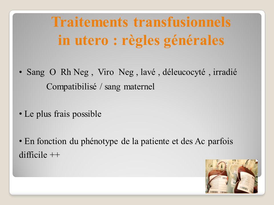 Sang O Rh Neg, Viro Neg, lavé, déleucocyté, irradié Compatibilisé / sang maternel Le plus frais possible En fonction du phénotype de la patiente et de