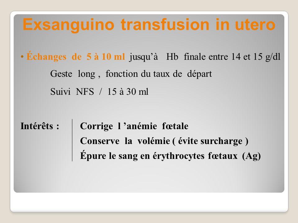 Exsanguino transfusion in utero Intérêts : Corrige l anémie fœtale Conserve la volémie ( évite surcharge ) Épure le sang en érythrocytes fœtaux (Ag) É