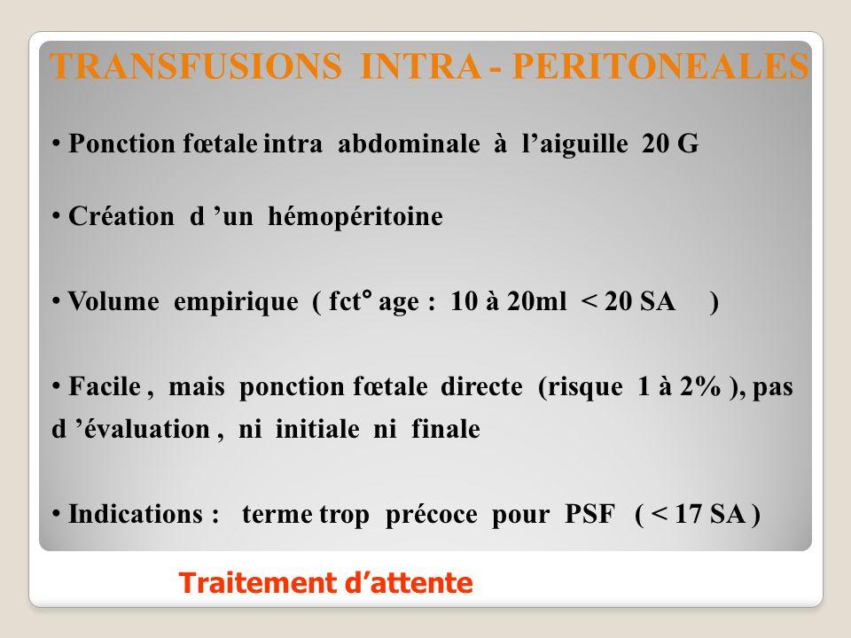 Ponction fœtale intra abdominale à laiguille 20 G Création d un hémopéritoine Volume empirique ( fct° age : 10 à 20ml < 20 SA ) Facile, mais ponction