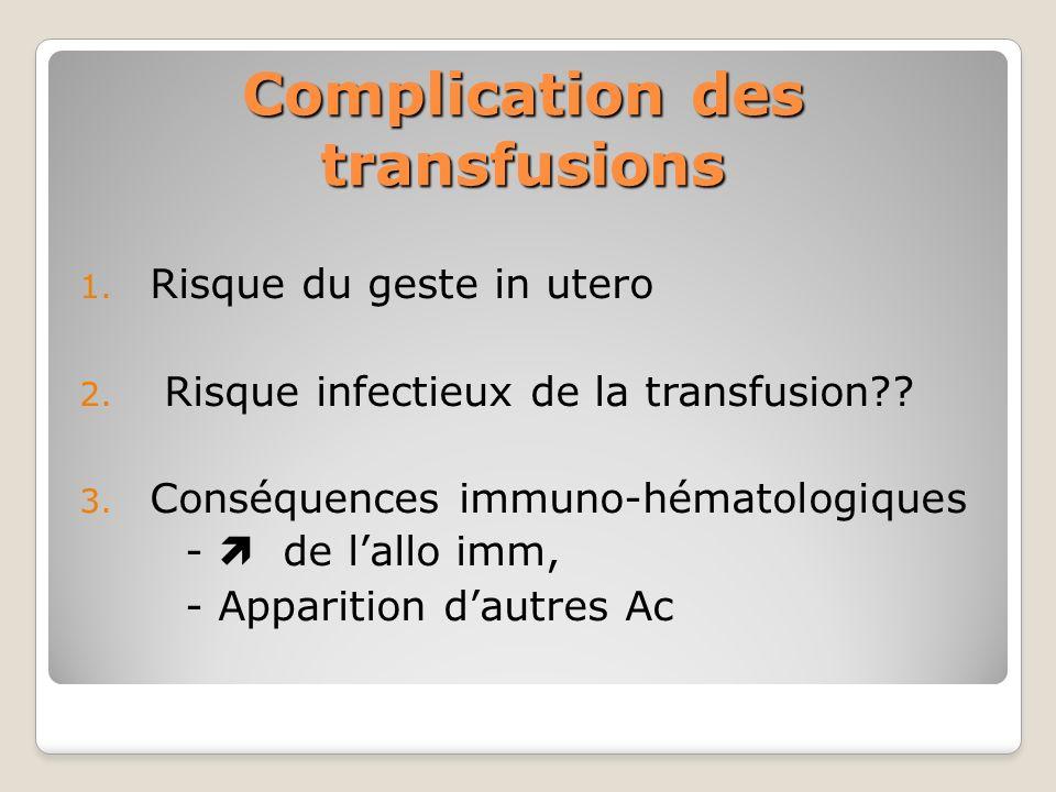 Complication des transfusions 1. Risque du geste in utero 2. Risque infectieux de la transfusion?? 3. Conséquences immuno-hématologiques - de lallo im