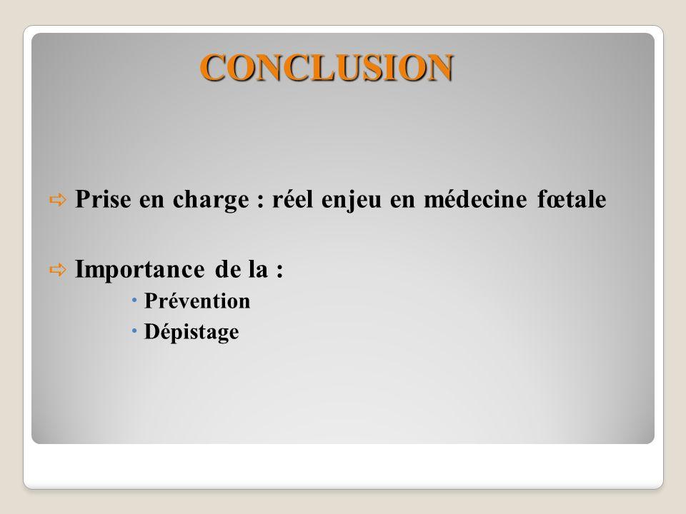 CONCLUSION Prise en charge : réel enjeu en médecine fœtale Importance de la : Prévention Dépistage
