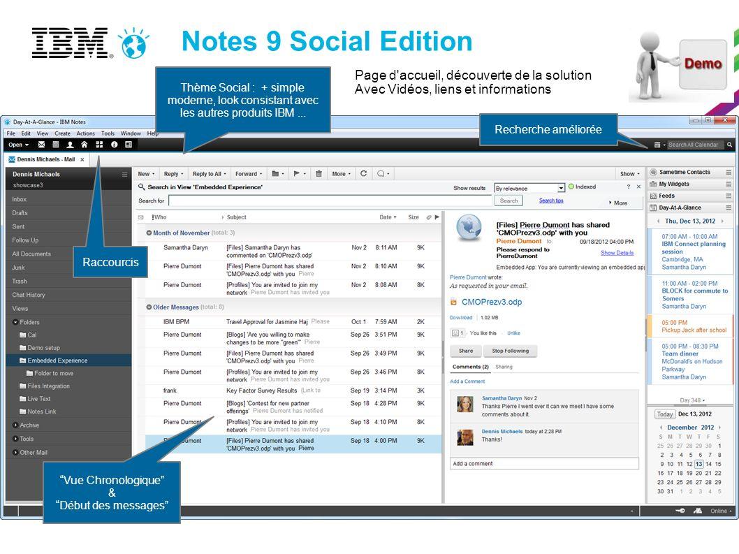 Notes 9 Social Edition Thème Social : + simple moderne, look consistant avec les autres produits IBM... Raccourcis Vue Chronologique & Début des messa