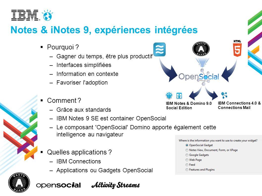 Notes & iNotes 9, expériences intégrées Pourquoi ? –Gagner du temps, être plus productif –Interfaces simplifiées –Information en contexte –Favoriser l