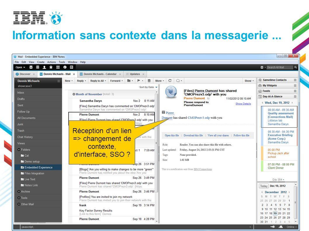 Réception d'un lien => changement de contexte, d'interface, SSO ? Information sans contexte dans la messagerie...