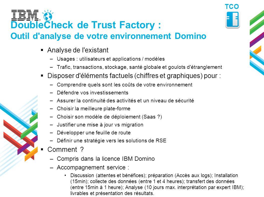 DoubleCheck de Trust Factory : Outil d'analyse de votre environnement Domino Analyse de l'existant –Usages : utilisateurs et applications / modèles –T