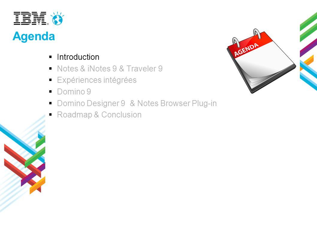Dernières évolutions Préférences / usabilité –Définir une police par défaut pour les mails –Classement de l inbox (type de message, last/firstname) –Retenir l état des dossiers à la fermeture de Notes –Réplication / synchronisation multi-thread Messagerie – Faire suivre depuis la corbeille – Saisie assistée : icône pour identifier les groupes – Sauvegarde mail en.eml Contacts – « Switch to contacts » – Marquer un contact / groupe privé – Ne pas ajouter les destinataires cc ou bcc aux contacts récents – Pouvoir bloquer / supprimer des contacts récents (clic-droit sur le contact dans la saisie assistée) – Envoyer à quelqu un un groupe ou un site Agenda –Souscrire à des flux privés –Entrées par catégories –Traitement des meetings répétitifs qui tombent le week end –Option « Certains invités utilisent d autres clients de messagerie » Intégrations – Fonctions d IBM Connections depuis la « Notes Open Liste » – Inviter une personne à son réseau depuis la carte de visite, liste Sametime ou inbox Profils Pour trouver rapidement la bonne personne en la recherchant à travers son entreprise, son service, son domaine dexpertise, les projets sur laquelle elle a travaillé, sa fonction, … Fichiers Mise à disposition de tout type de fichiers avec ses collègues ou sa communauté.
