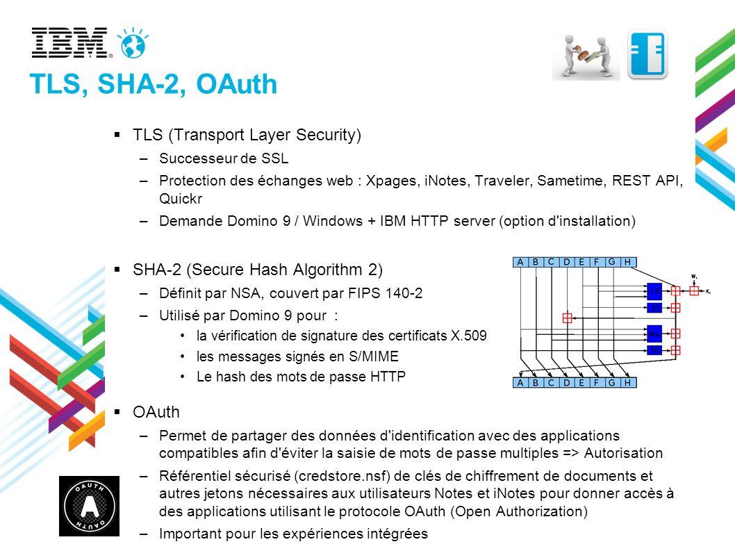 TLS, SHA-2, OAuth TLS (Transport Layer Security) –Successeur de SSL –Protection des échanges web : Xpages, iNotes, Traveler, Sametime, REST API, Quick