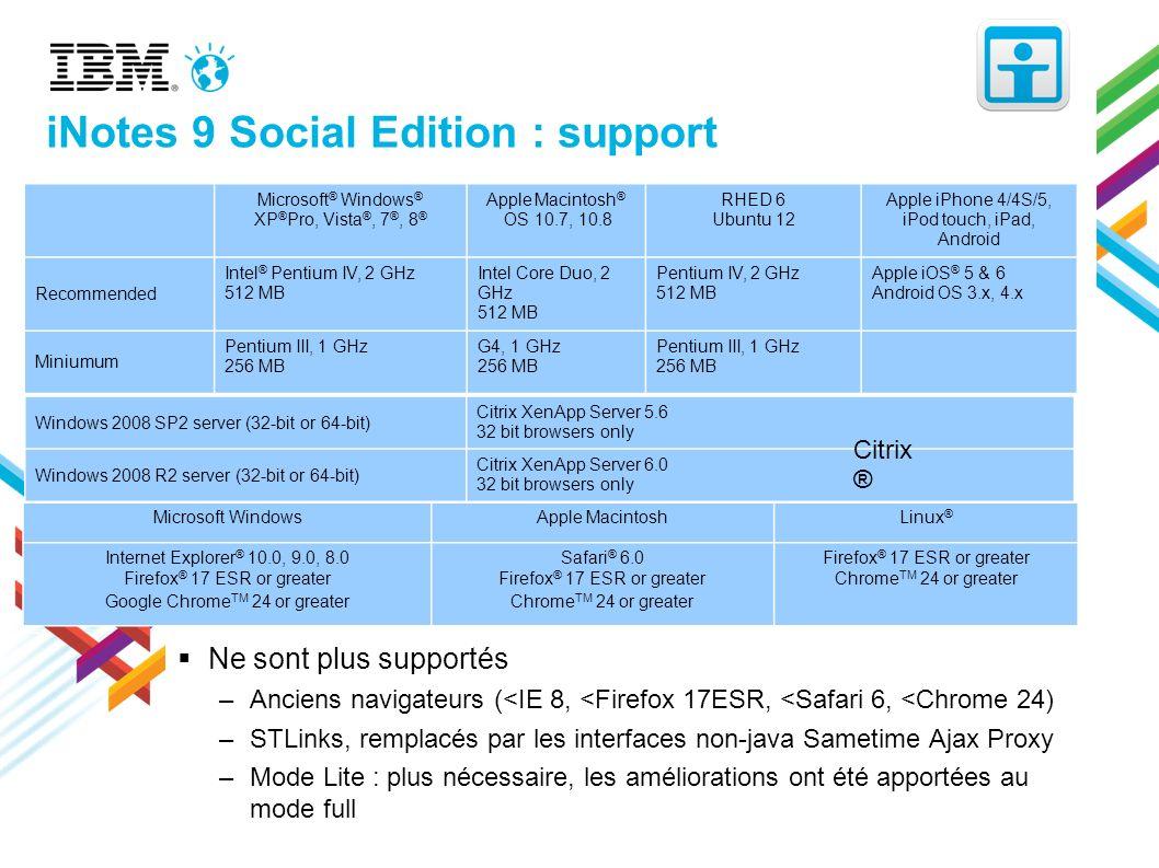 iNotes 9 Social Edition : support Ne sont plus supportés –Anciens navigateurs (<IE 8, <Firefox 17ESR, <Safari 6, <Chrome 24) –STLinks, remplacés par l