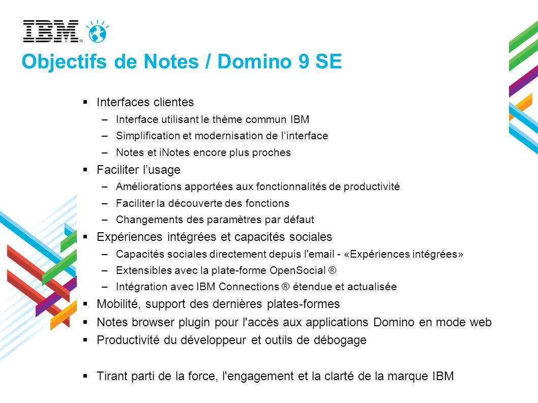 Objectifs de Notes / Domino 9 SE Interfaces clientes –Interface utilisant le thème commun IBM –Simplification et modernisation de linterface –Notes et