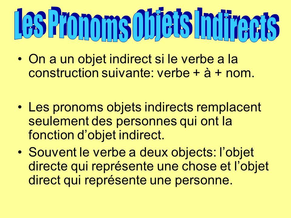 On a un objet indirect si le verbe a la construction suivante: verbe + à + nom.