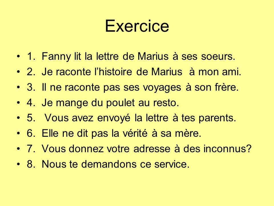 Exercice 1.Fanny lit la lettre de Marius à ses soeurs.