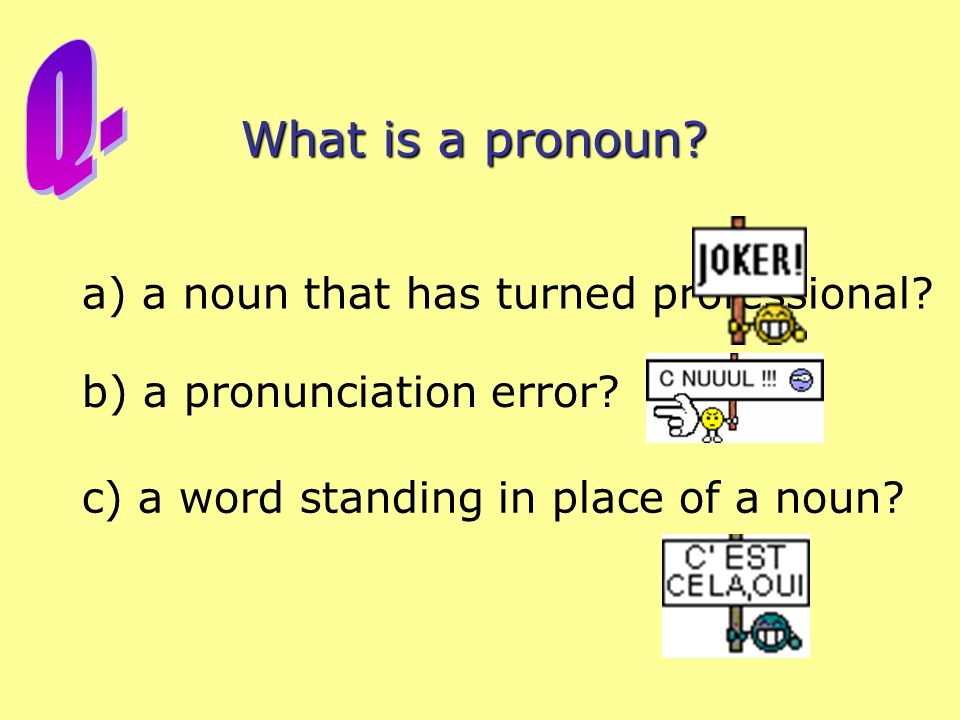 What is a pronoun.a) a noun that has turned professional.