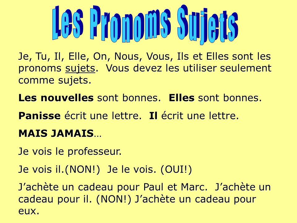 Je, Tu, Il, Elle, On, Nous, Vous, Ils et Elles sont les pronoms sujets.