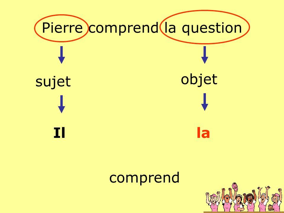 Pierre comprend la question sujet objet Illa comprend