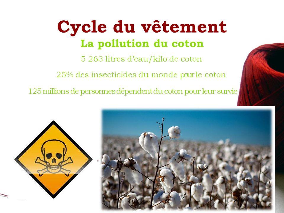 Cycle du vêtement La pollution du coton 25% des insecticides du monde pour le coton 5 263 litres deau/kilo de coton 125 millions de personnes dépendent du coton pour leur survie