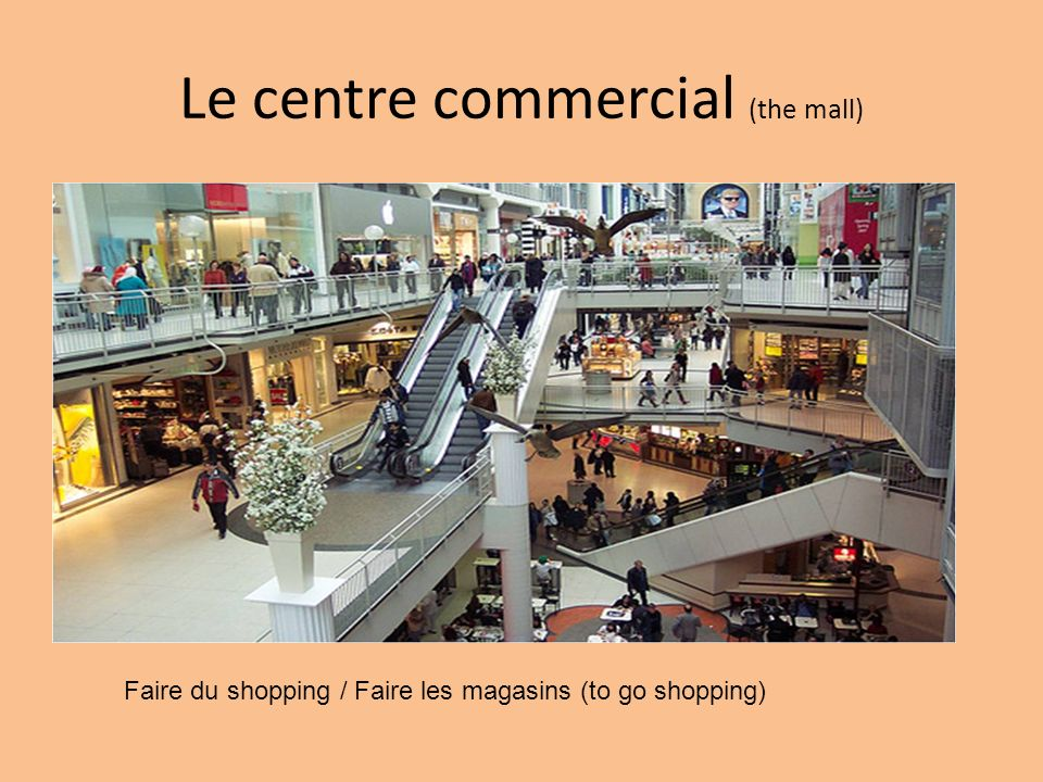 Le centre commercial (the mall) Faire du shopping / Faire les magasins (to go shopping)