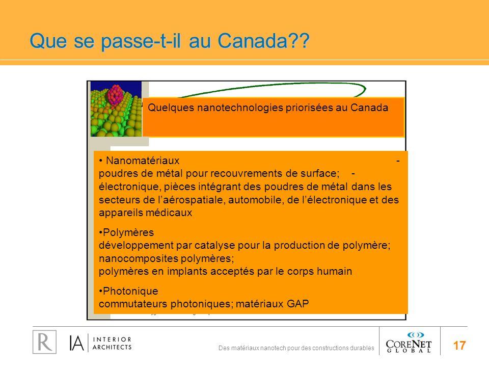 17 Des matériaux nanotech pour des constructions durables Que se passe-t-il au Canada?? Quelques nanotechnologies priorisées au Canada Nanomatériaux -