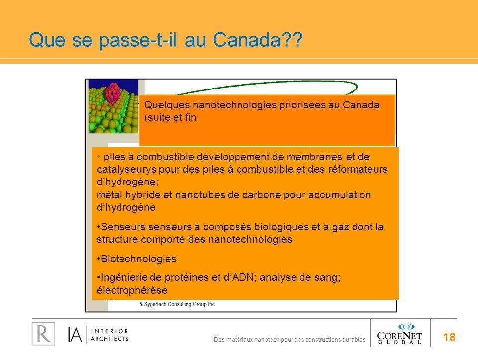 18 Des matériaux nanotech pour des constructions durables Que se passe-t-il au Canada?? Quelques nanotechnologies priorisées au Canada (suite et fin p