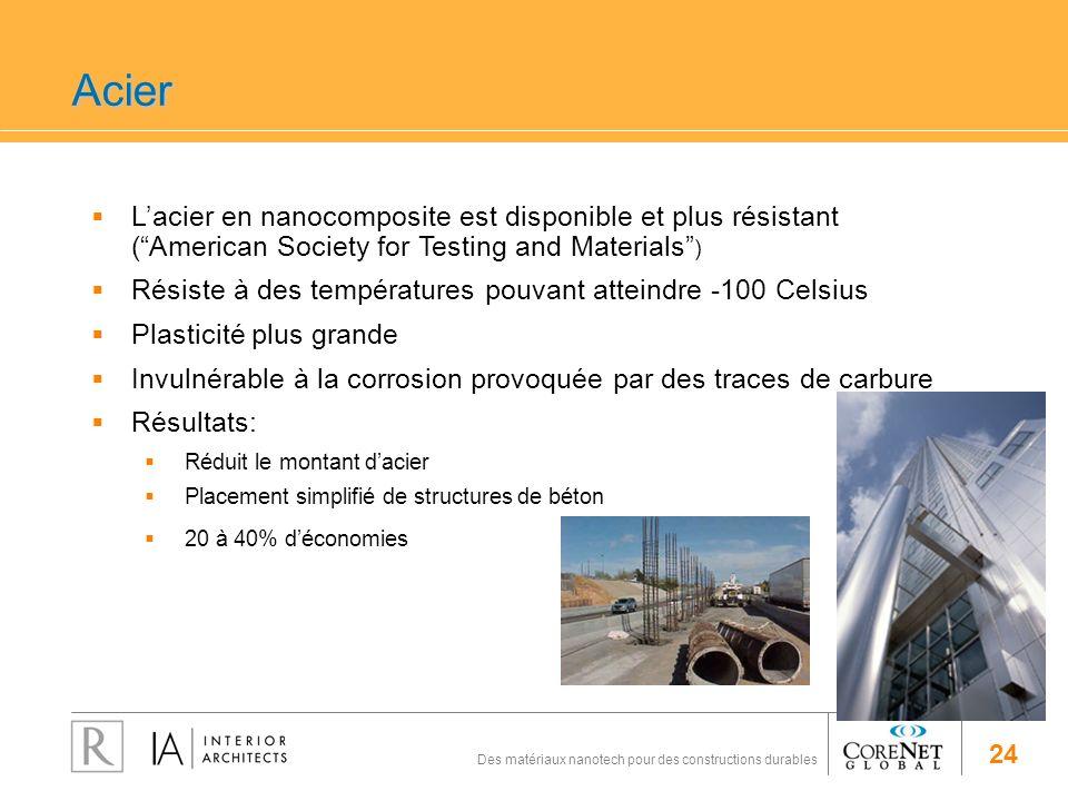 24 Des matériaux nanotech pour des constructions durables Acier Lacier en nanocomposite est disponible et plus résistant (American Society for Testing