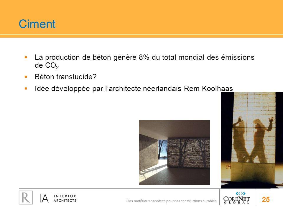 25 Des matériaux nanotech pour des constructions durables Ciment La production de béton génère 8% du total mondial des émissions de CO 2 Béton translu