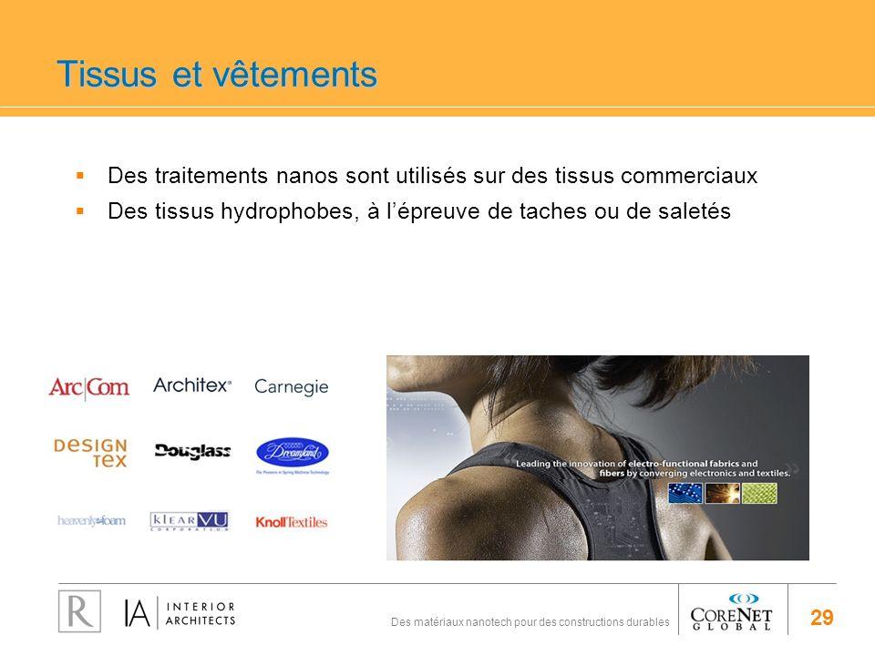 29 Des matériaux nanotech pour des constructions durables Tissus et vêtements Des traitements nanos sont utilisés sur des tissus commerciaux Des tissu