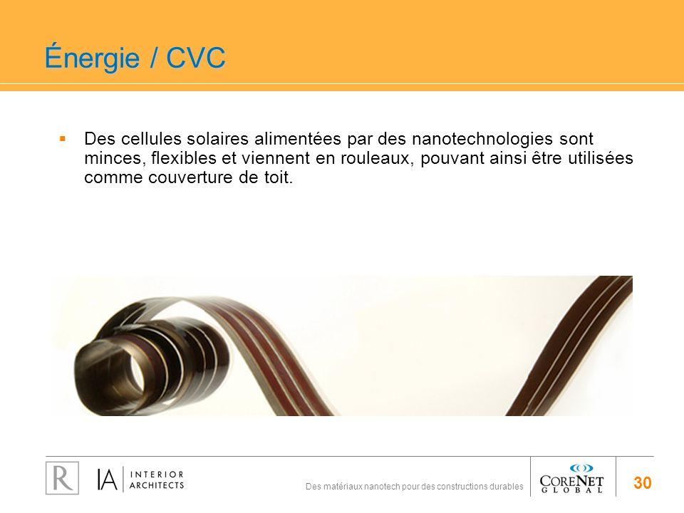30 Des matériaux nanotech pour des constructions durables Énergie / CVC Des cellules solaires alimentées par des nanotechnologies sont minces, flexibl